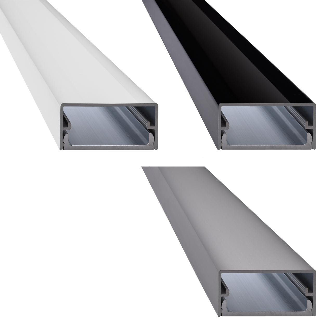ac design aluminium kabelkanal big square wei weiss schwarz silber ebay. Black Bedroom Furniture Sets. Home Design Ideas